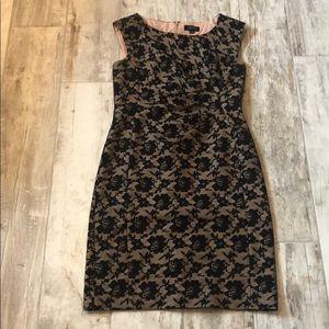 Stunning Nude/Black Lace Tahari Dress Size 6